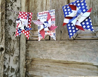 4th of July Pinwheel banner - patriotic banner -  Red White and Blue -  Patriotic Banner - Fourth of July Garland - Fourth of July Banner
