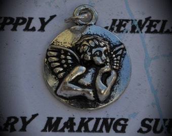 Angel Medal Sterling Silver Plated Charm