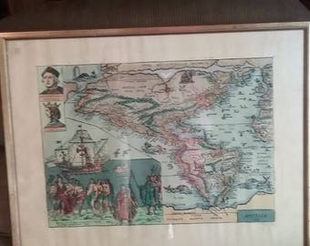 Antique Map of america 1586 lithogragh