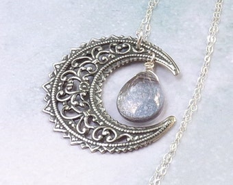 Blue Moon Necklace, Crescent Moon Necklace, Wiccan Necklace, sterling silver, garnet, pagan, moon dust, filigree, matte, astrology, wicca