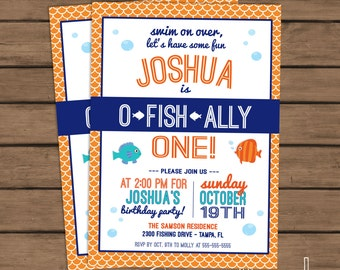 O-Fish-Ally One Birthday Party Invitation - Fish Birthday - First Birthday- 1st Birthday - Blue - Fishing - Custom - Printable - DIY