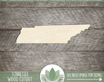 Tennessee, Unfinished Wood Tennessee Laser Cut Shape, DIY Craft Supply, Many Size Options, Blank Wood Shapes