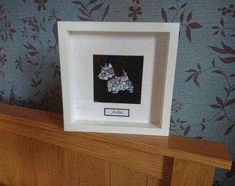 Bespoke West Highland Terrier (Westie) picture. Personalised with, name, collar and background