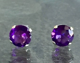 Memorial Day Sale Amethyst African 5mm .70ctw Sterling Silver Stud Earrings