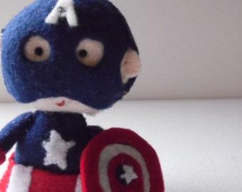 Captain America felt doll, made in France - Marvel's Avengers geekery Marvel Avengers collectible - for Captain America fans