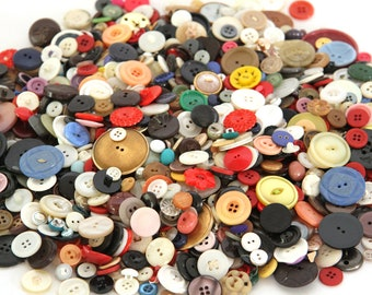 Colorful Vintage Buttons 2+ Pounds Lot Some Metal