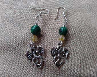 Dragon Earrings with Natural Stones
