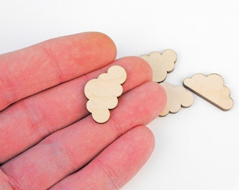 Set of 5pcs. (2.5cm) Wooden Cloud Shape Craft Hanging Tag Decoration Gift Decoupage Laser Cut MG000024