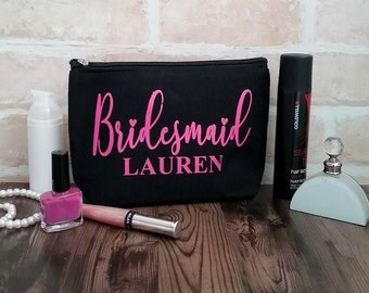 Bridesmaid Bag; Personalised bag; Bridesmaid gift; personalised makeup bag;  Bridesmaid makeup bag; personalised toiletry bag; make up bag