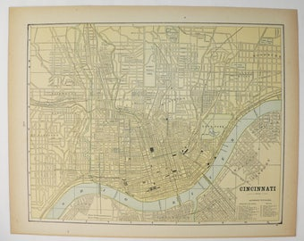 Vintage City Map of Cincinnati Ohio 1887 City Street Map, Cincinnati Map, Antique Map, Office Art Gift for Coworker, Wedding Gift for Couple