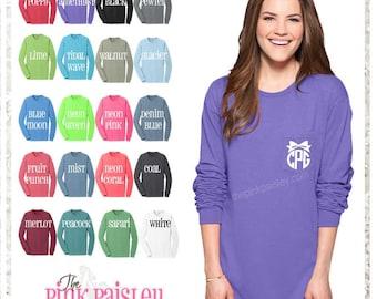 Monogrammed Tee Shirt | Long Sleeve Monogram T Shirt | Personalized Long Sleeve Shirt | Pocket T Shirt | Preppy Tee | Sorority Gift | Sister