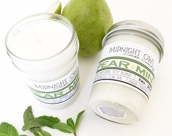 New! Pear Mint Scented Jar Candle  8oz or 16oz - soy candle, popular candles, scented candle - Midnight Owl Candle Company