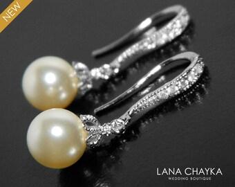 Pearl Bridal Earrings, Swarovski 8mm Ivory Drop Pearl Earrings, Pearl Bridal Jewelry, Small Pearl Silver Earrings Wedding Bridesmaid Jewelry