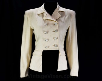 Size 6 1940s Jacket - Cigarette Girl or Majorette Style - Double Breasted - Cutout Peplum - Soft Tailored - WWII Era - Bust 34 - 46062