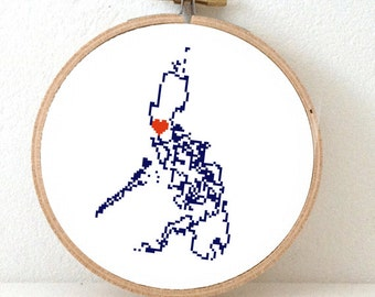 Philippines map counted cross stitch pattern. Philippines art. Home is where the heart is. Manilla heart. Gift overseas Filipino. OFWs