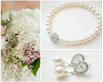 Bridal Jewelry Set, Crystal Pearl Wedding Jewelry SET, Bridal Bracelet Set, Bridal Earrings Set