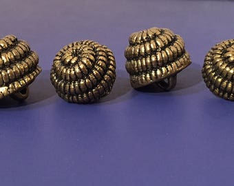Vintage Beehive Brass Buttons 1940s Free Shipping