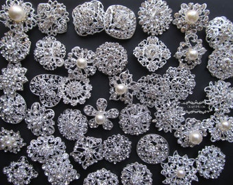 50 Brooch Lot Rhinestone Pearl Mixed Silver Pin Wholesale Crystal Wedding Bouquet Brooch Bridal Button Embellishment Hair Cake DIY Kit Set