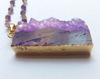 Raw amethyst slice necklace, purple amaethyst bar necklace,large agate necklace, wirewrapped statement necklace,large crystal pendant,gems