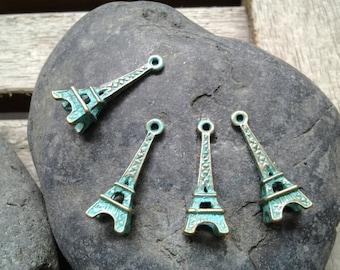 Handpainted Verdigris Patina Eiffel Tower Charms (18039) - 24x8mm
