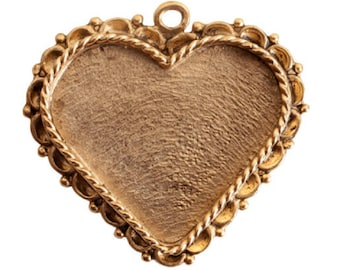 Large Heart Bezel with Ornate Edge - Heart Lacy Edge - Single Loop - Antique Gold - Antique Silver - High Quality Workmanship