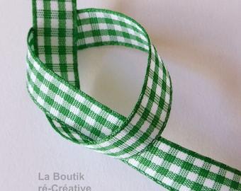 1 meter Ribbon 10mm white & green gingham fabric