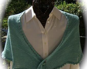 Pale Aqua Silk Wool Capelet/Scarf