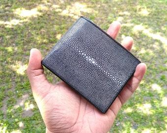 Polished Black Stingray Leather Wallet For Men Genuine Sanded Ray Skin Shagreen Bifold Wallet