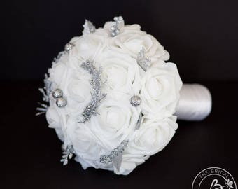 Winter wedding bouquet, white and silver bouquet, bridesmaid bouquet, winter wonderland bouquets, alternative bouquet, fake flowers