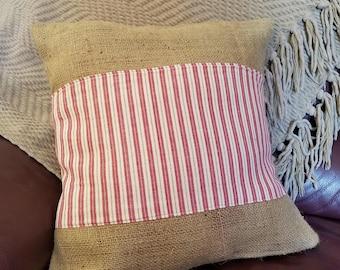 Red Ticking Pillow, Ticking Pillow, Red Striped Pillow, Burlap Pillow, Rustic Pillow, Farmhouse Pillow, Farmhouse Decor, Rustic Decor
