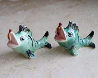 Fish salt and pepper shakers, vintage blue fish shakers, Japan fish salt and pepper shakers, ceramic fish S&P, anglerfish, angler fish