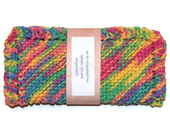 Hand Knit Dish Cloths, Knitted Dishcloths, Knitted Dish Rags, Knit Washcloth, Pink, Yellow, Green, Blue