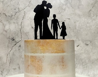 Silhouette Wedding Cake Topper with Children, Family Cake Topper with Boy and Girl, Family Cake Topper, Wedding Cake Topper, Cake Topper