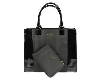 Meziah Black Onyx Patent leatherTote/shopper handbag