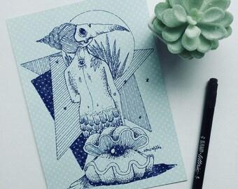 mermaid siren tattoo illustration original old school