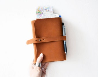 Travel Journal, Leather journal with pockets, Leather sketchbook