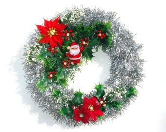 Tinsel Wreath, Tinsel Christmas Wreath, Christmas Kitsch Santa Wreath, Mid Century Christmas