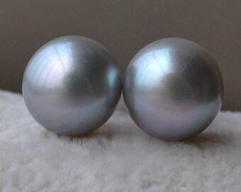 Gray pearl earrings, 10mm Freshwate Pearl Stud, Sterling Silver Earrings,bridesmaid earrings, wedding earrings, stud gray earrings, women