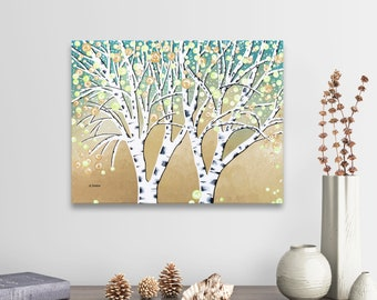 Original Birch Tree Painting, Birch Wall Art, Tree Art on Canvas Landscape Painting