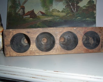 4 Hole Solid Wood Sugar Mold, Mexico, Rustic, Weddings, Candles, Organization