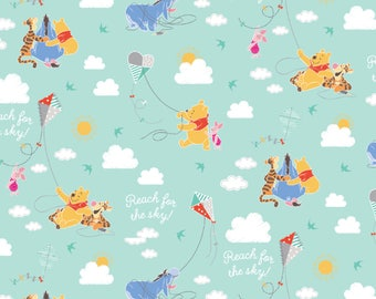 IN STOCK NEW Disney Fabric: Winnie the Pooh Kite Flying with Tigger, Piglet, Eeyore 100% cotton fabric (SC401)