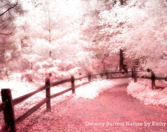 Nature Photography, Dreamy Ethereal Pink Trees, Baby Girl Nursery Decor, Pink Trees, Fantasy Nature Trees, Pink Fairytale Nature Path Trees