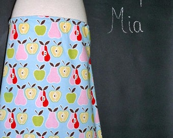 Sample SALE - Will fit Size XxS/XS - Ready to Mail - A-line SKIRT - Apples - Alexander Henry - by Boutique Mia