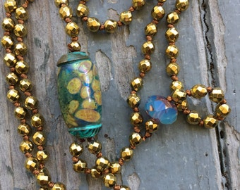 """Gold Hematite Lariat """"Y"""" Necklace With Lampworlk Focal Bead Hand Knotted By SeeJAnesBeads"""