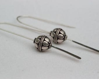 Focal Bali Bead Forged Paddle Earrings Sterling Silver One-Of-A-Kind Hand-Crafted