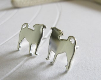 Pug post earrings. Small dog silhouette jewelry. Tiny Sterling silver, 14k gold filled or solid gold studs. Gift for animal lover.