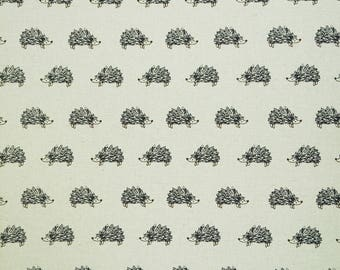 Cute Hedgehog Printed Canvas Fabric - Cotton/Linen Blend - Printed In Japan