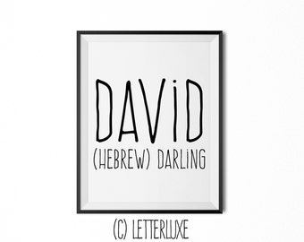 David Name Meaning Art - Printable Baby Shower Gift - Nursery Printable Art - Digital Print - Nursery Decor - Typography Wall Decor