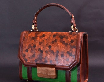 "Chick hand bag from wood and leather ""Shick"" rosewood with llock from solid walnut"