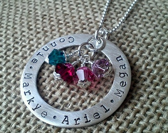 Birthstone Necklace, Mom Necklace, Grandma Necklace, Family Necklace, Swarvoski Crystal Element Birthstones by Stamped Evermore